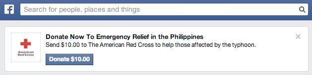 Facebook's call for users to give to Red Cross