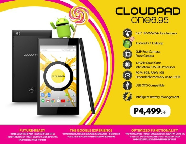 CloudPad One 6.95 Product Sheet