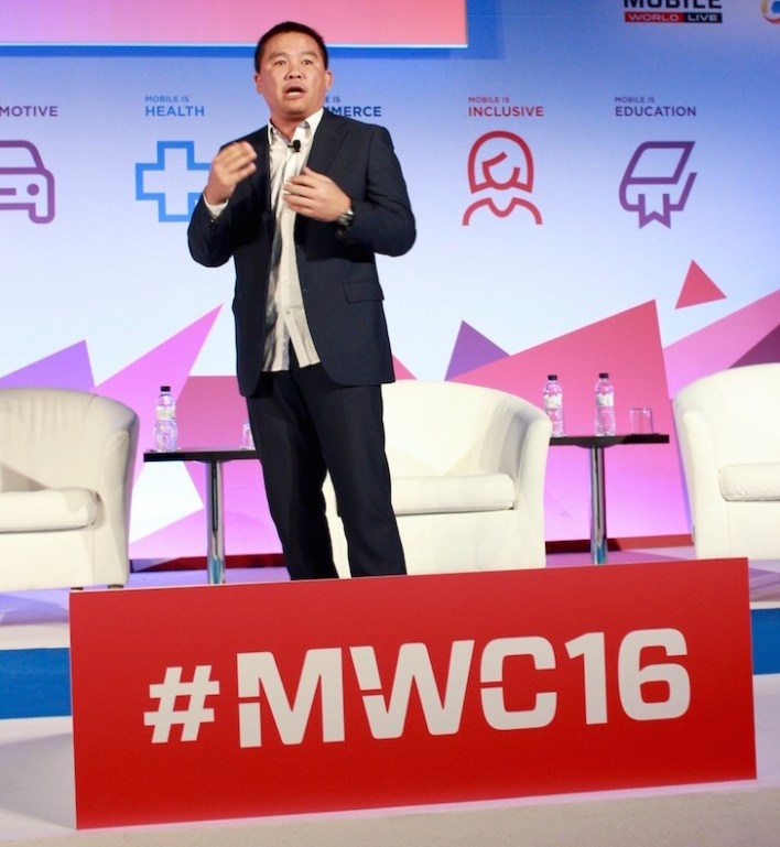 Coach Chot Reyes of TV5/Media 5 delivering his talk at the Mobile World Congress in Barcelona, Spain