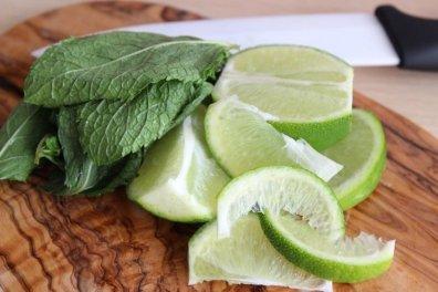 menthe et citron vert decoupé