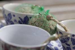 Préparation des tasses mangeoires à oiseaux