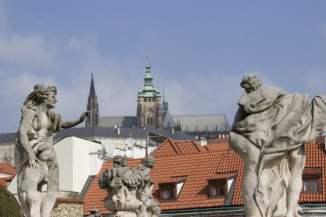 Terrasse centrale du jardin Vrtba à Prague