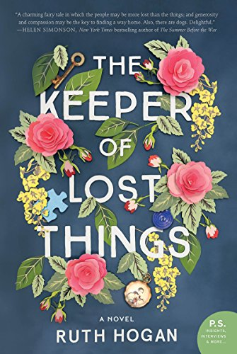 The Cover of 'The Keeper of Lost Things' by author Ruth Hogan.  The Title is surrounded by papercut flowers, on a deep blue background.