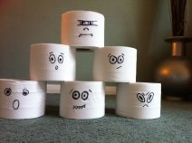 Use a small pumpkin to bowl over these cheeky toilet roll ghosts