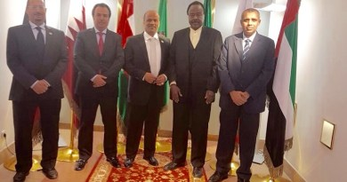 Dr Mohamed S.A. Al Gheilani and his staffteam welcoming president DI Abdalla Sharief at the headquarter of the mission of the Cooperation Council for the Arab States of the Gulf to the UN-Vienna