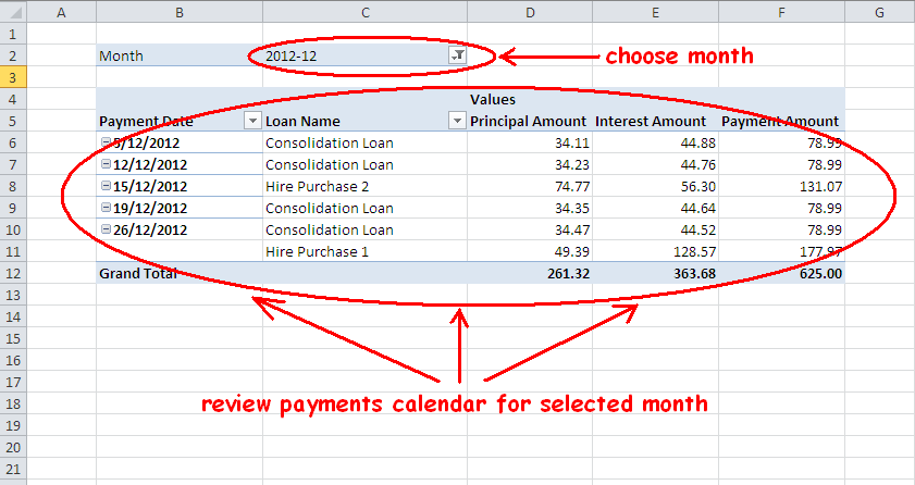 Multiple-Loan or Mortgage Payment Schedule Calculator in Excel ...
