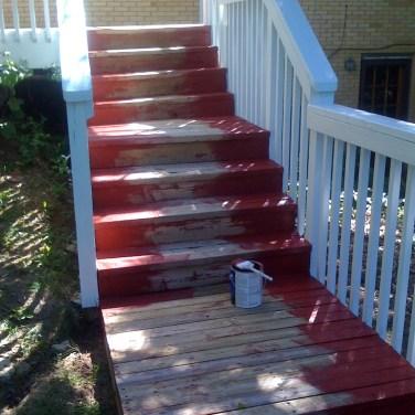 Deck stain in Progress