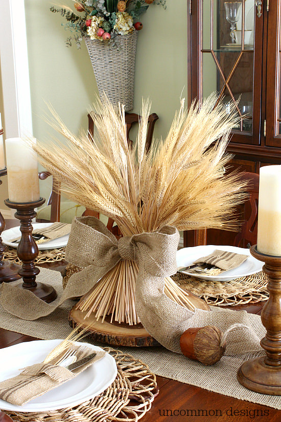 Fall wheat centerpiece with burlap ribbon! #findinghomefalltour