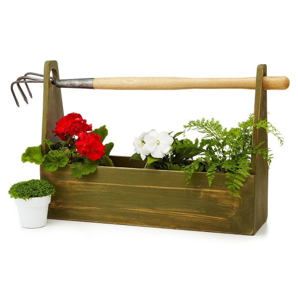 garden tool box tote wooden toolbox