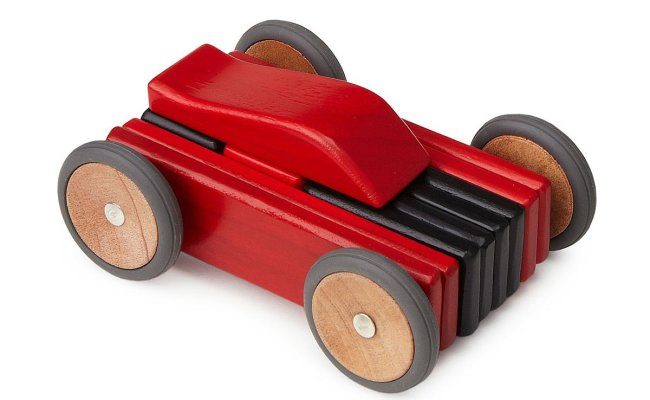 Magnetic Wooden Car Set Toy Race Car Building Blocks