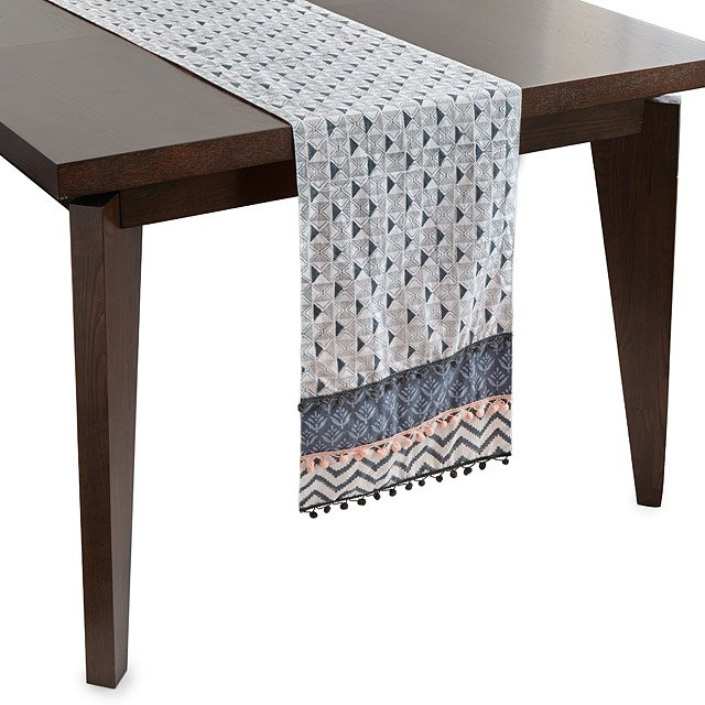 sofa table runners poltrone e poltrona layered block print runner linen uncommongoods