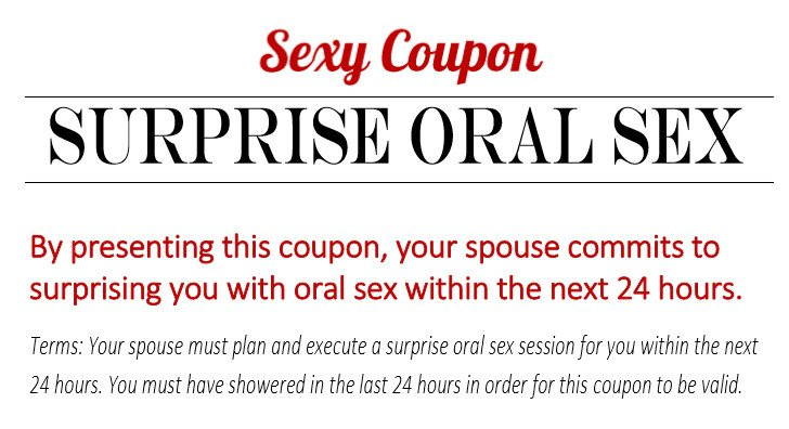 Mine, oral sex coupons apologise