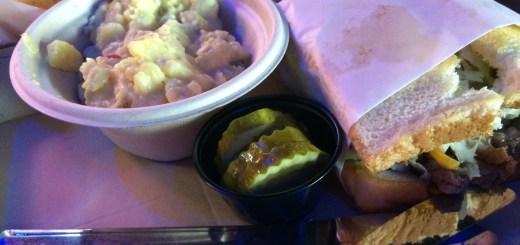 Burger and Potato Salad at Big Dog Daddy's Ice House
