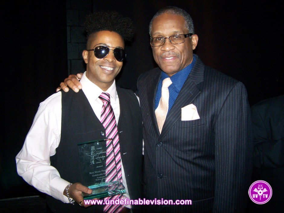 Winner of Best Music Program Tabou TMF aka Undefinable One with Bronxnet Programming Manager David Jenkins Jr. at the 2014 BETA Awards
