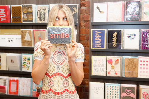 Julianne Hough shows her favorite card at Hallmark Signature's SoHo pop-up shop