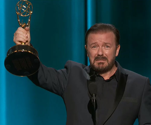 "Ricky Gervais Emmy ""Winning"" Moment"