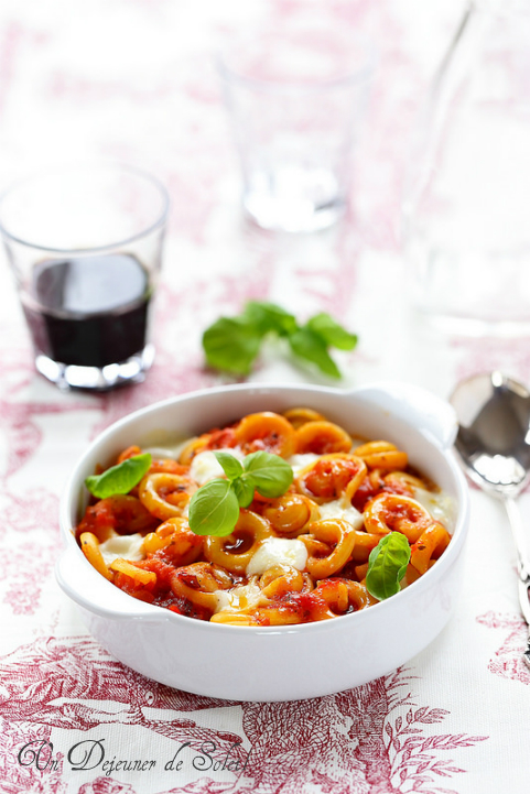 Pâtes cappelletti gratinées alla sorrentina : tomates, mozzarella et basilic - Pasta gratin with tomatoes and mozzarella