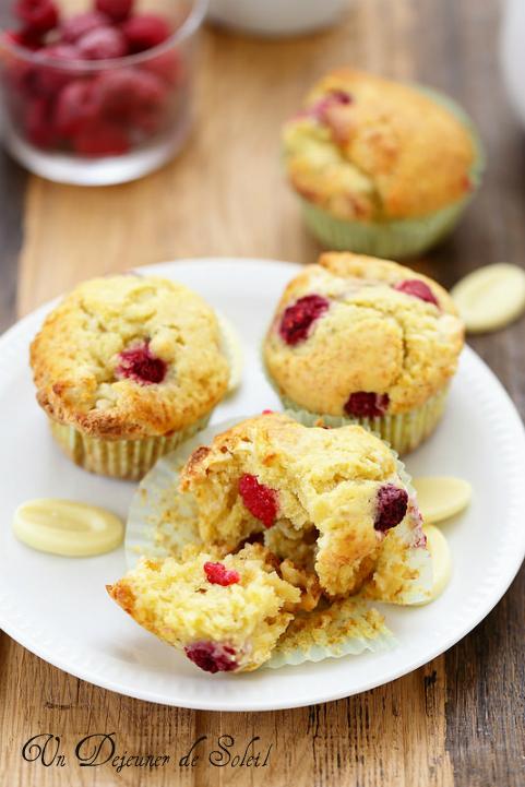 Muffins chocolat blanc framboises rose