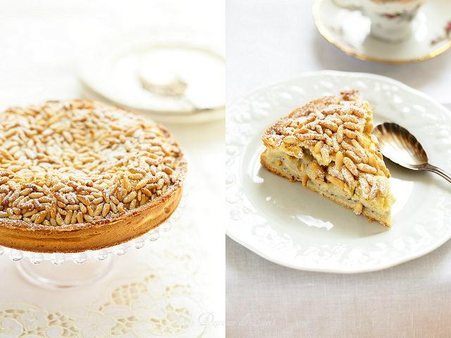 Torta della nonna (tarte à la crème pâtissière et aux pignons)