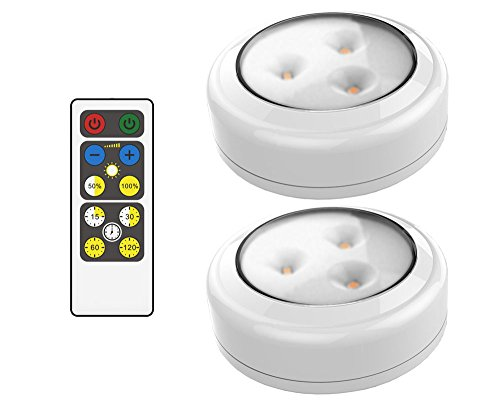 brilliant evolution brrc134 wireless led puck light 2 pack with remote control operates on 3