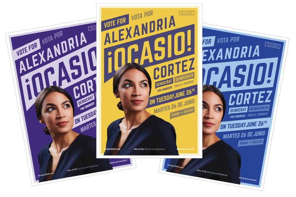 Pósters de campaña de Alexandria Ocasio-Cortez del 2018.