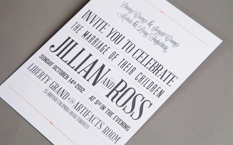Typographic Wedding Invitation Package