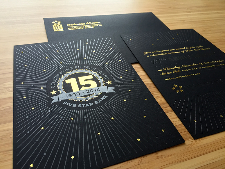FPO Five Star Bank 15 Year Anniversary Invitation Package