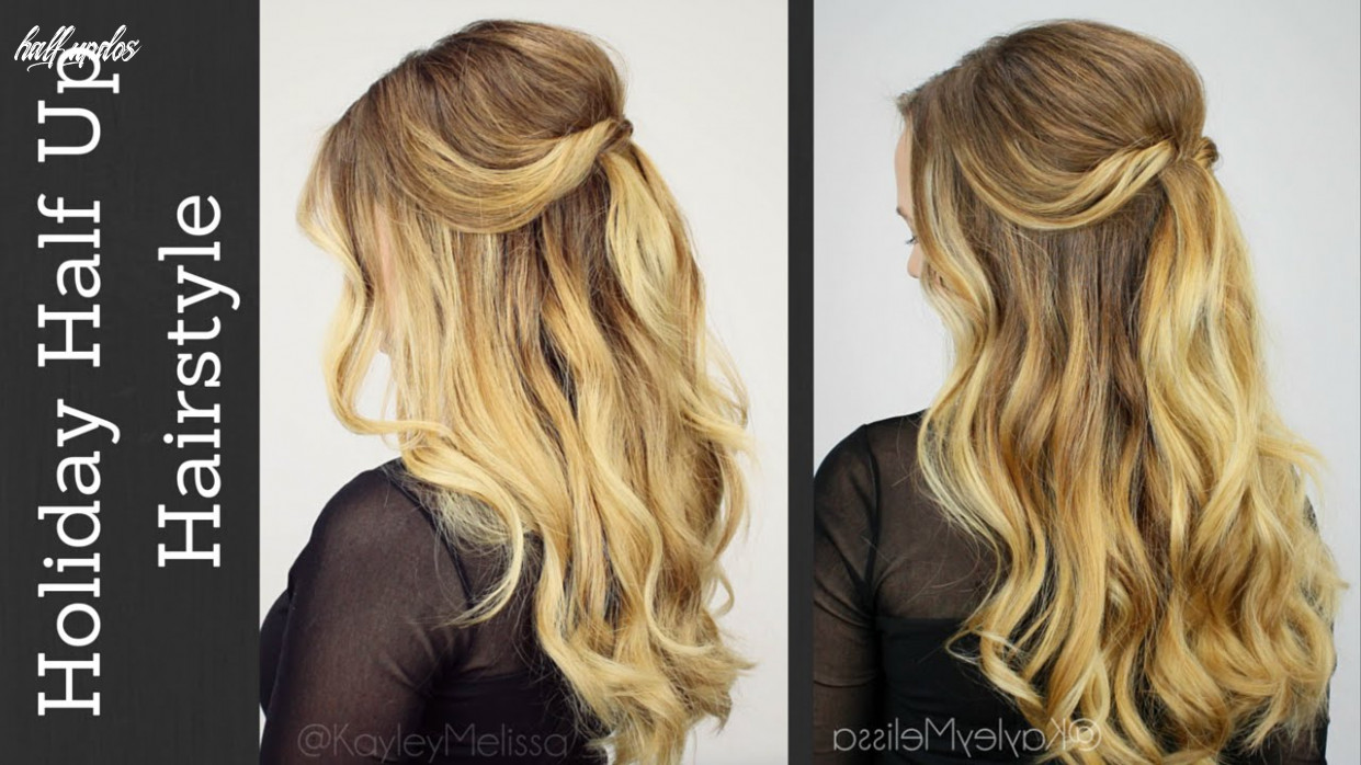 Holiday half updo with tousled waves! half updos