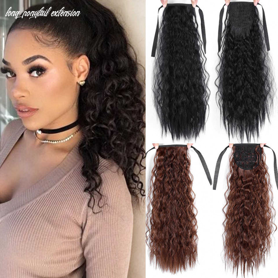 11 inch long ponytail extension synthetic kinky straight ponytail clip on hair extensions drawstring ponytail for women long ponytail extension