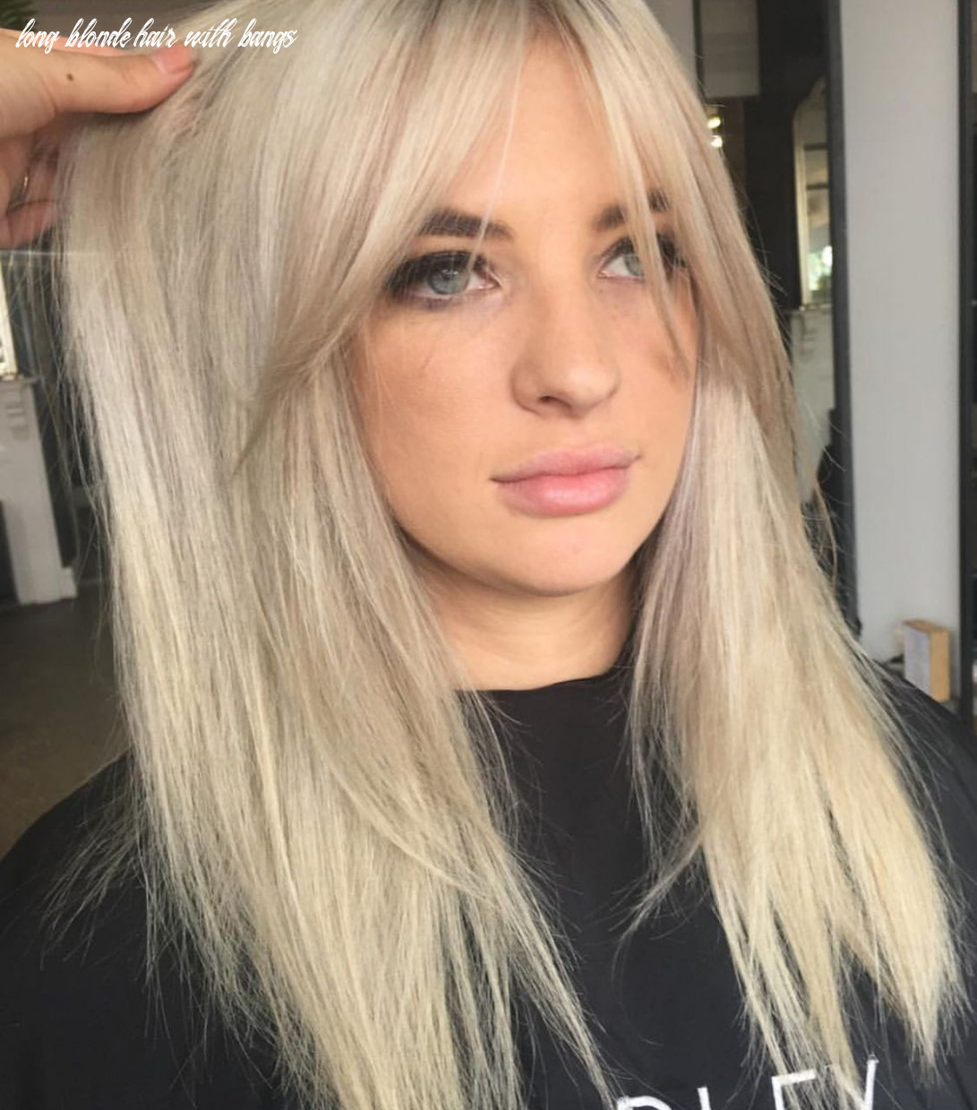 Blonde platinum silver hair color and curtain bangs #hairstyles