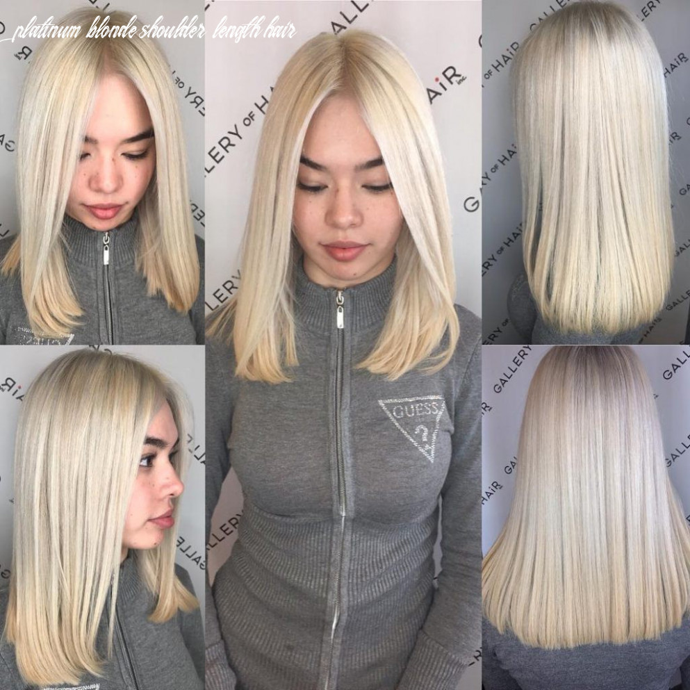 Blunt platinum blonde lob with center part   by hairstyleology