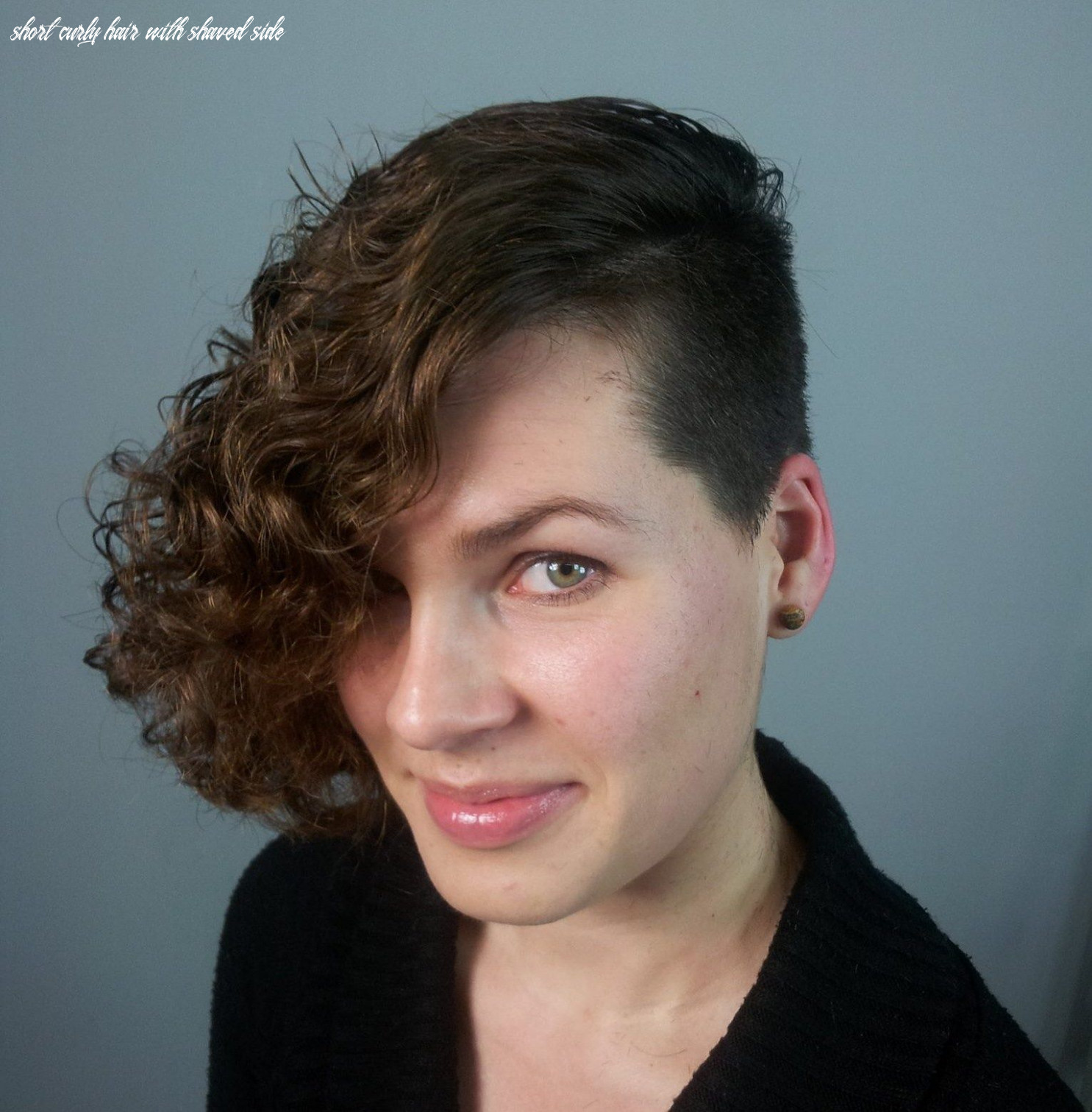 Front view curly bob with shaved side   curly angled bobs, short