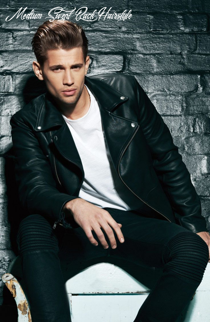 Mens swept back hairstyle | leather jeans men, mens style looks