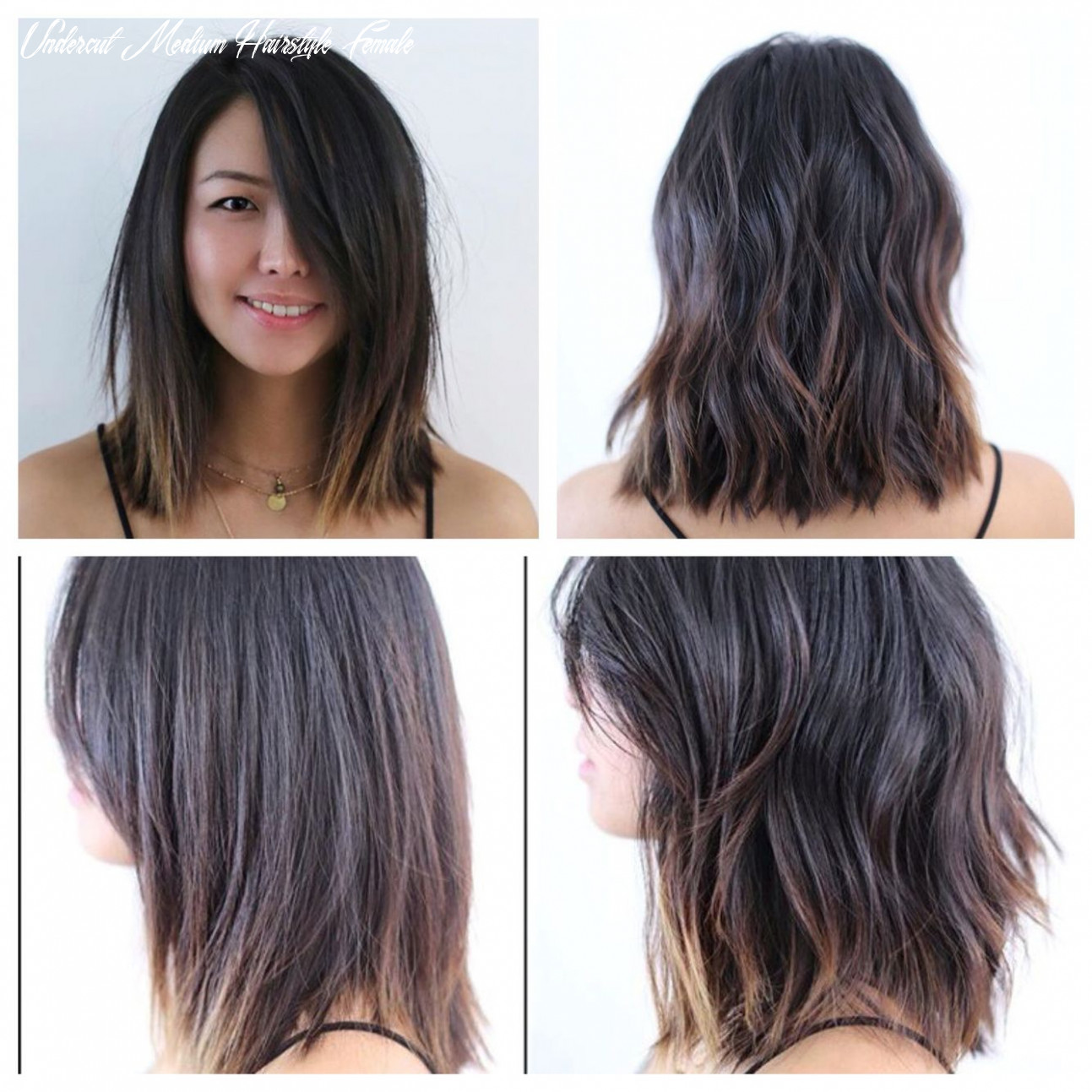 Mid length hair blunt soft undercut soft waves lived in hair