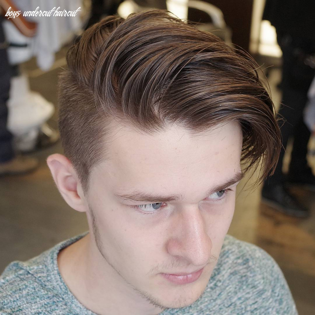 Picture of a long fringe side swept undercut haircut looks natural