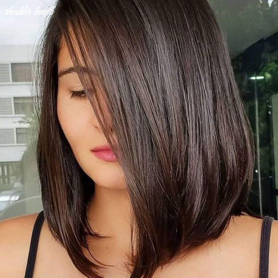 Queentas 9inch shoulder length wig short bob natural looking straight synthetic medium hair wigs for white women with wig cap(dark brown #9) shoulder length