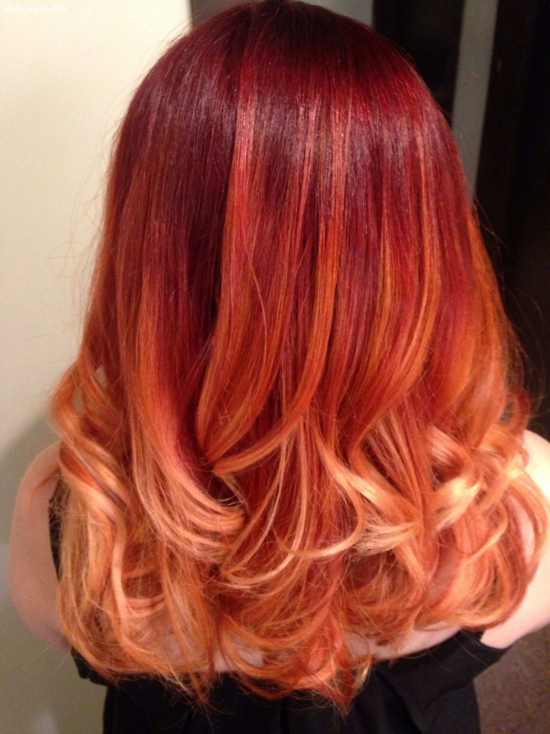 Red ombré, medium length hair done with aveda color | couleur