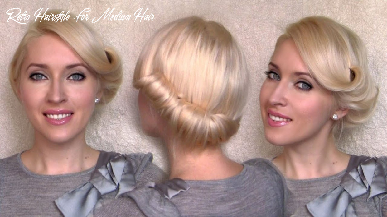 Side swept rolled updo hairstyle for medium short hair tutorial charlize theron vintage/retro twist retro hairstyle for medium hair