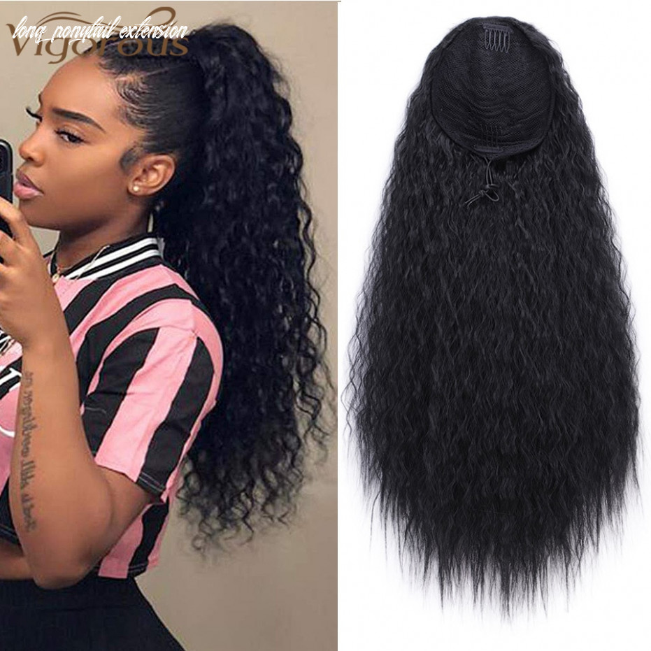 Us $11 11 113% off vigorous drawstring ponytail hair synthetic long afro kinky curly ponytail extension for women black brown clip in ponytail