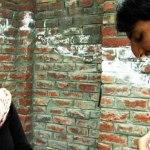 A Kashmir man and woman flirt with each other