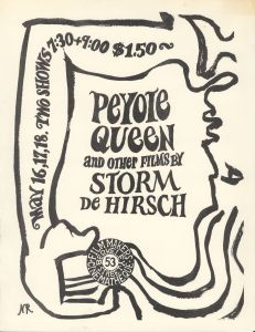 Poster promoting a screening of Storm de Hirsch's Peyote Queen