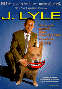 Movie poster featuring a lawyer with a talking dog