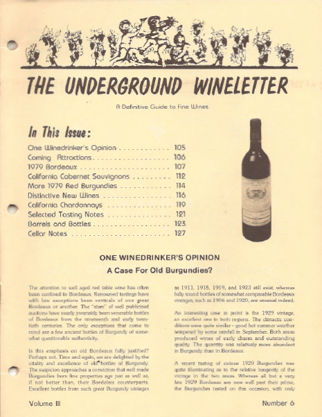 The Underground Wine Letter  Retrospective Review Volume III Number 6