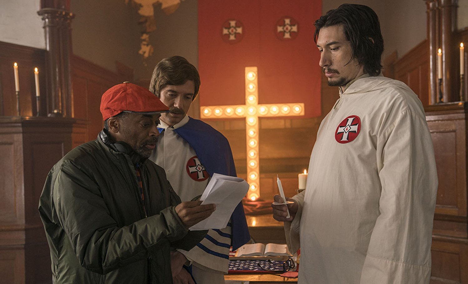 Spike Lee, Topher Grace et Adam Driver sur le tournage de BlacKkKlansman (2018)