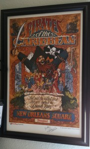 A small ride poster from Disney World's POTC. Signed by X Atencio.