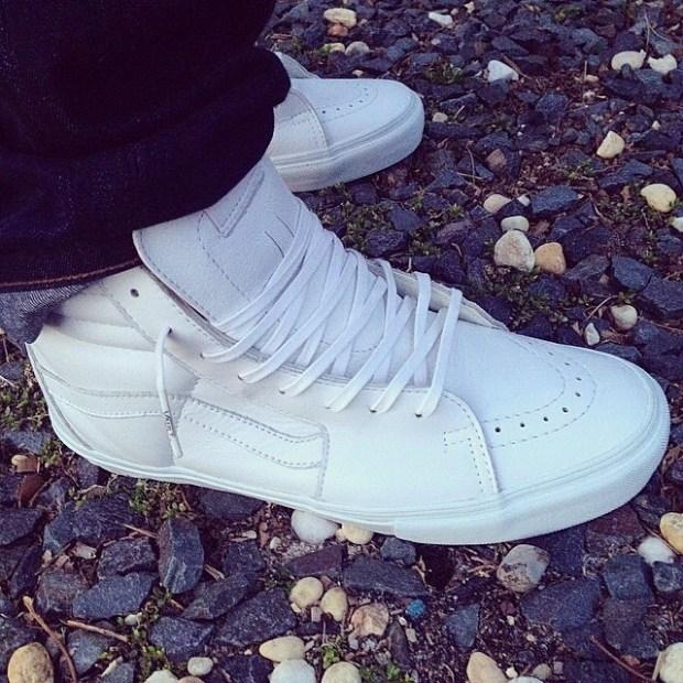 "via IG! @puzzlechris: Vans Vault ""White Leather"" Sk8-Hi LX #underthepalms"
