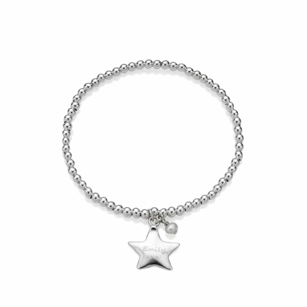 Engraved Star Charm Stretch Bead Bracelet