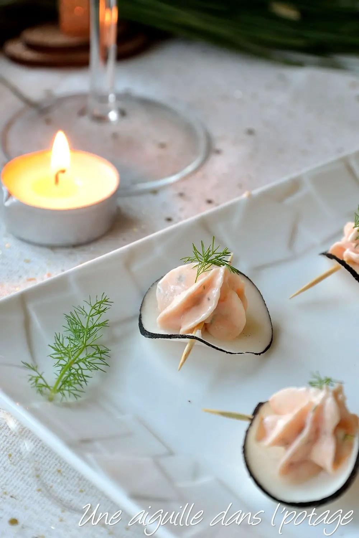 bouchée de radis noir crème saumon