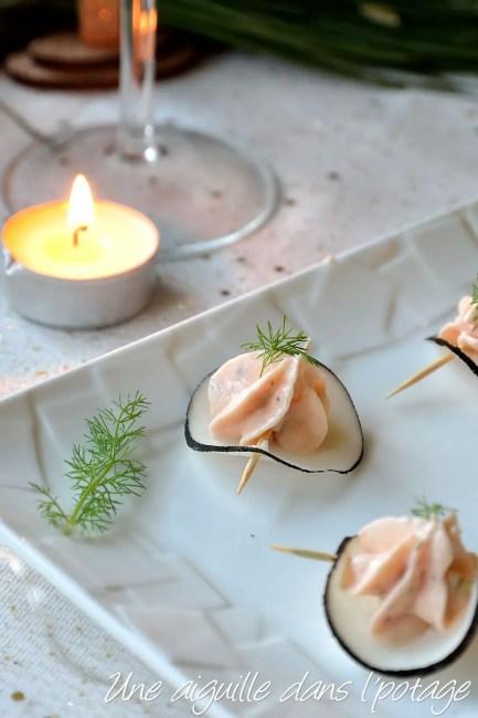 bouchée apéritive radis noir crème de saumon fumé