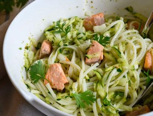 salade udon courgette saumon coriandre